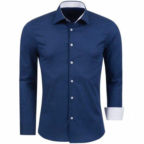 OneRedox Chemise homme en coton à manches longues Slim Fit chemise de loisir B