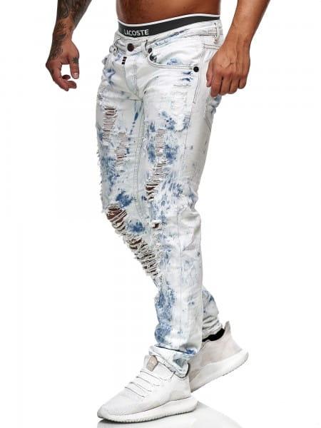 OneRedox Hommes Jeans Jeans Denim Slim Fit Used Design Modèle 8102