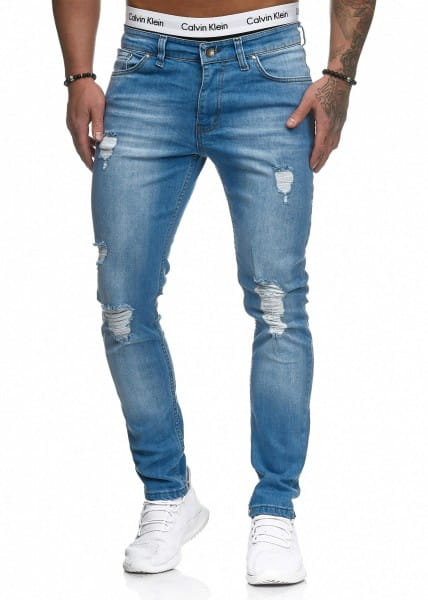 OneRedox Hommes Jeans Jeans Denim Slim Fit Used Design Modèle 5127 L.Blue