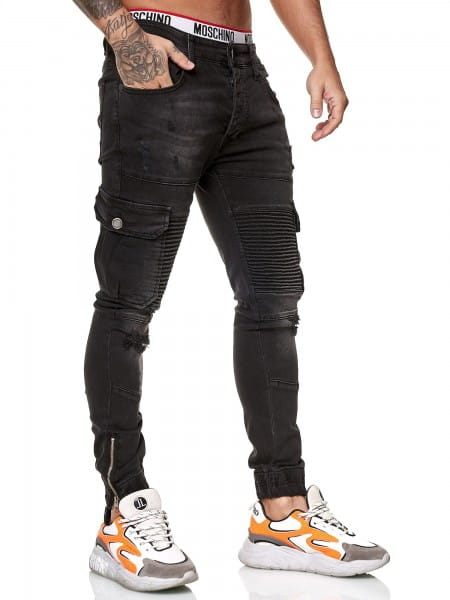 OneRedox Designer Herren Jeans Cargohose Regular Skinny Fit Jeanshose Destroyed Stretch Modell 8015
