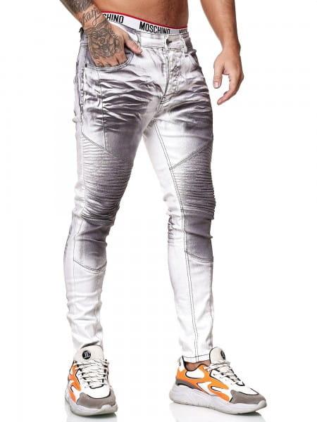 OneRedox Designer Herren Jeans Bikerhose Regular Skinny Fit Jeanshose Destroyed Stretch Modell 8026