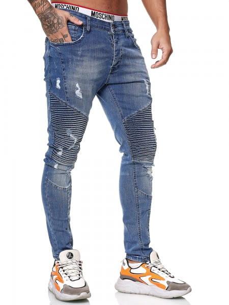 OneRedox Designer Herren Jeans Bikerhose Regular Skinny Fit Jeanshose Destroyed Stretch Modell 8024