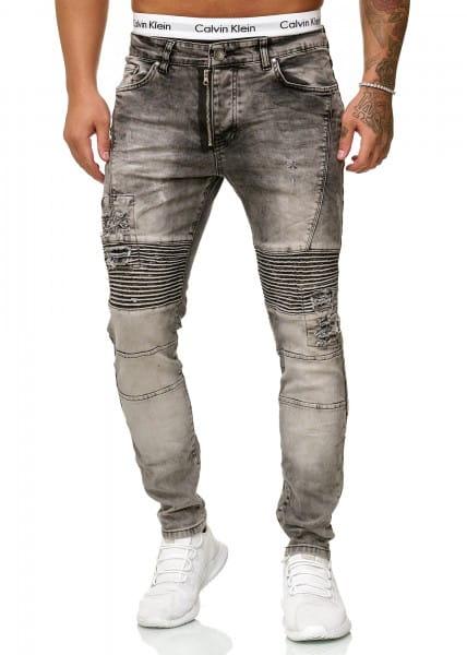 OneRedox Jeans Jeans Homme Denim Slim Fit Used Design Modèle 5046 Gris