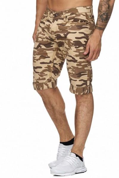 OneRedox Hommes Bermuda Shorts Bermuda Shorts Hommes Sport Shorts Casual Shorts Short Pantalon court Pantalon Cargo 4023 Camouflage Beige