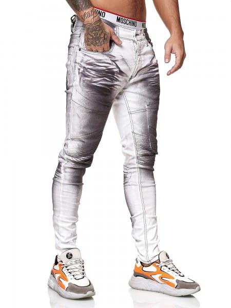 OneRedox Designer Herren Jeans Bikerhose Regular Skinny Fit Jeanshose Destroyed Stretch Modell 8033